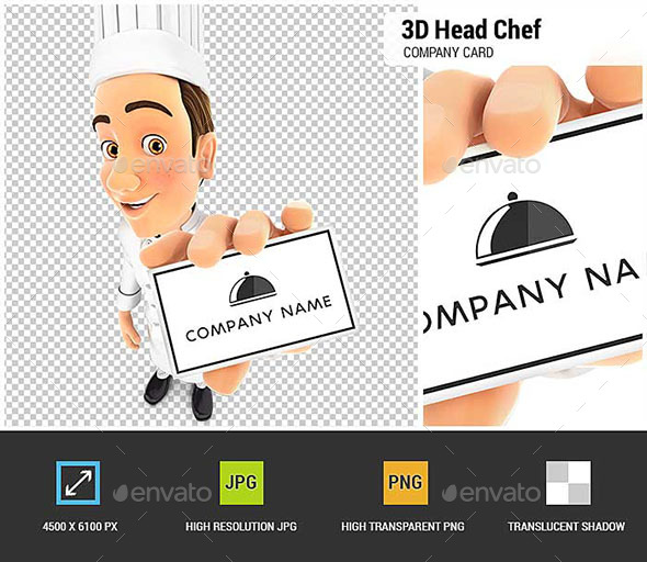 GraphicRiver 3D Head Chef Holding Company Card 20994727