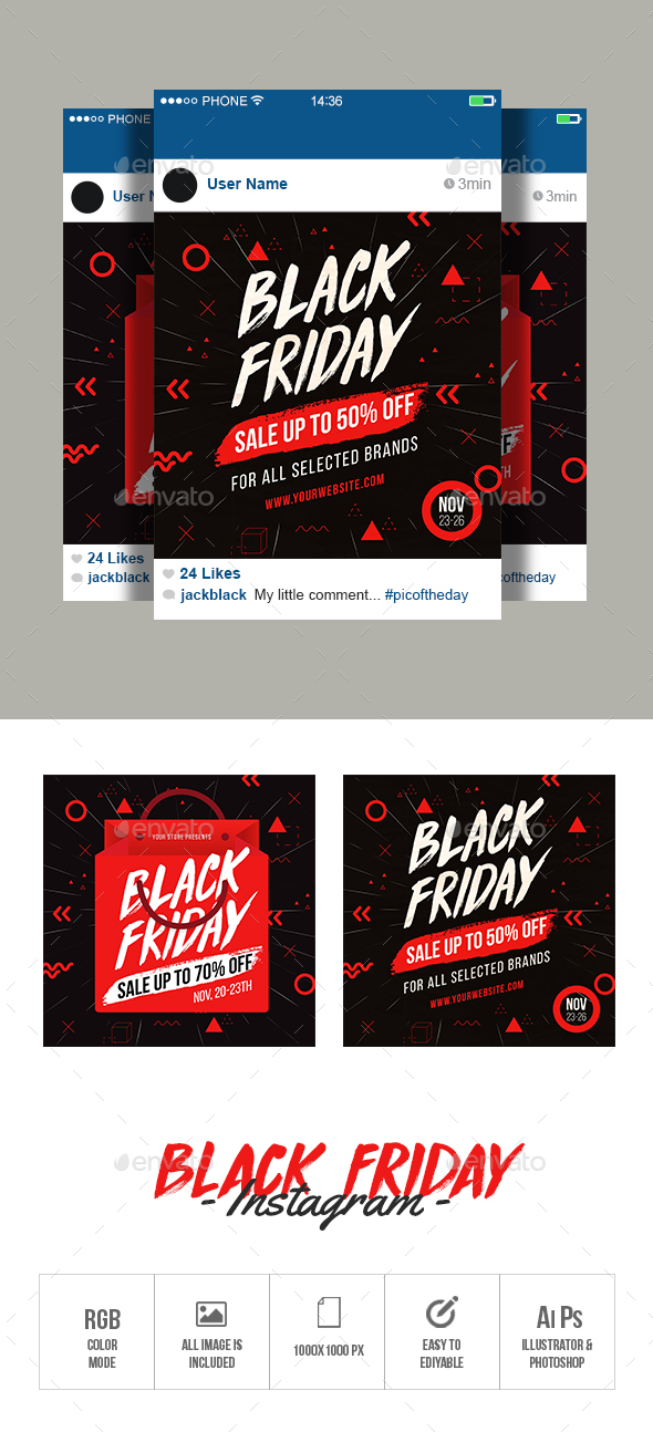 Black Friday Instagram - Banners & Ads Web Elements