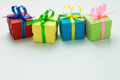 Variety of color gift boxes