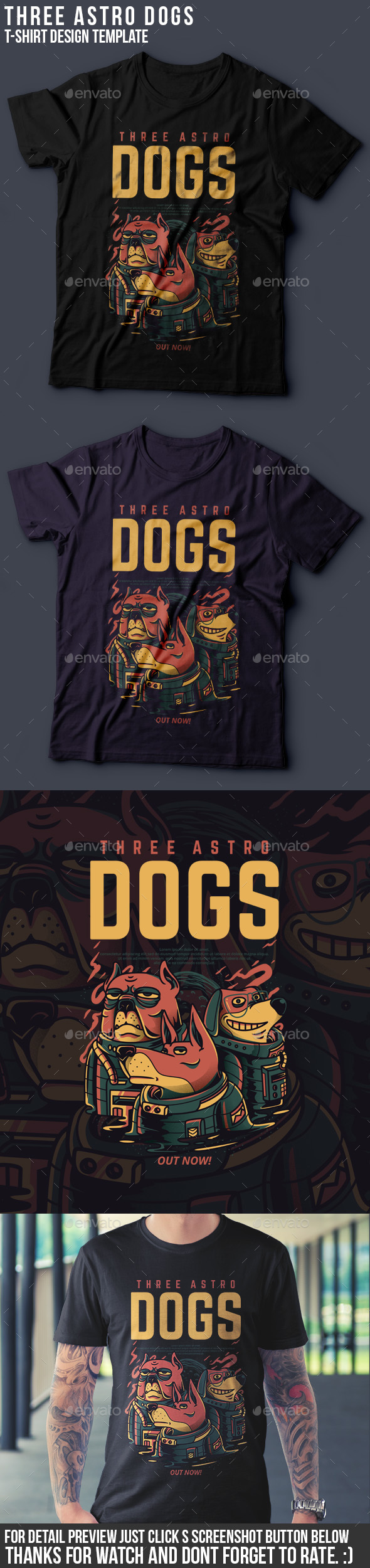 GraphicRiver Three Astro Dogs T-Shirt Design 20994952