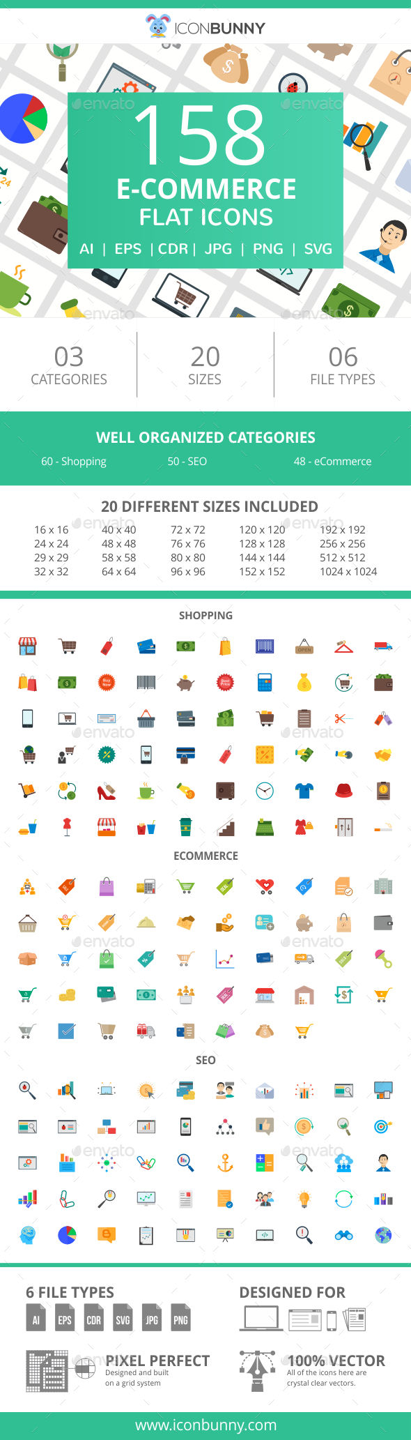 GraphicRiver 158 E-Commerce Flat Icons 20994993