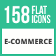 158 E-Commerce Flat Icons