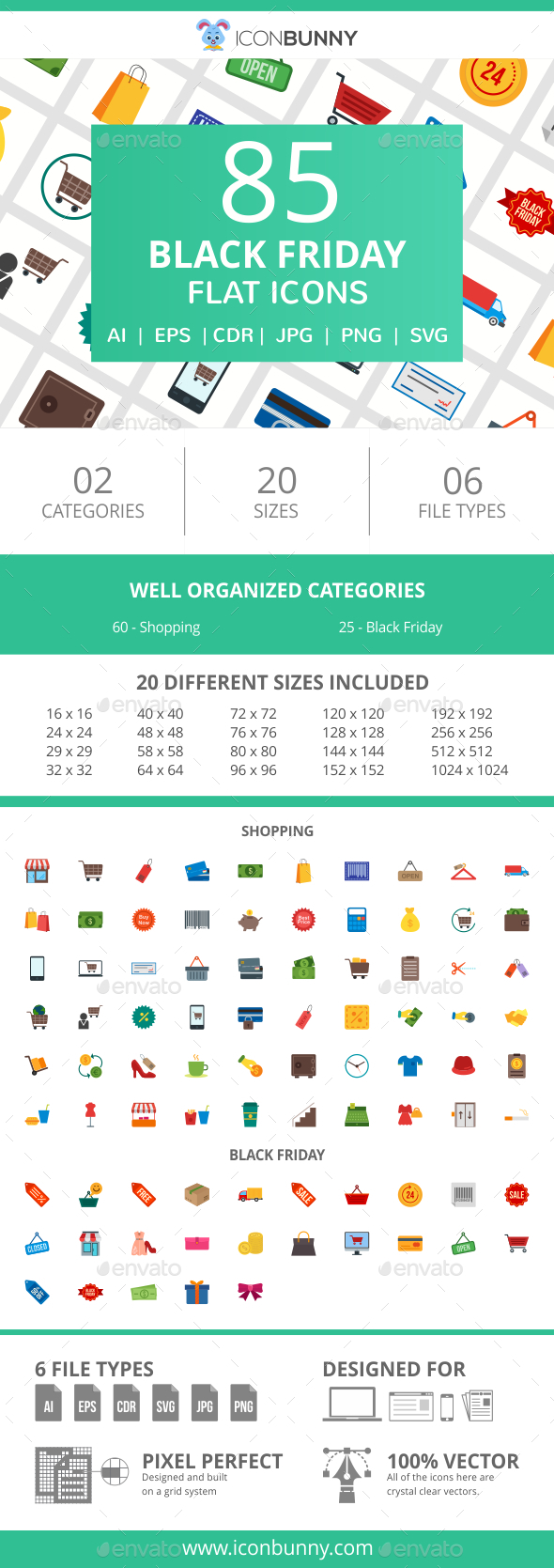 GraphicRiver 85 Black Friday Flat Icons 20994997