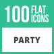 100 Party Flat Icons