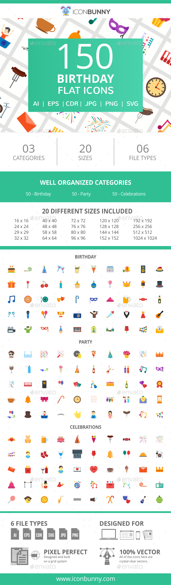 GraphicRiver 150 Birthday Flat Icons 20995003