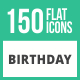 150 Birthday Flat Icons