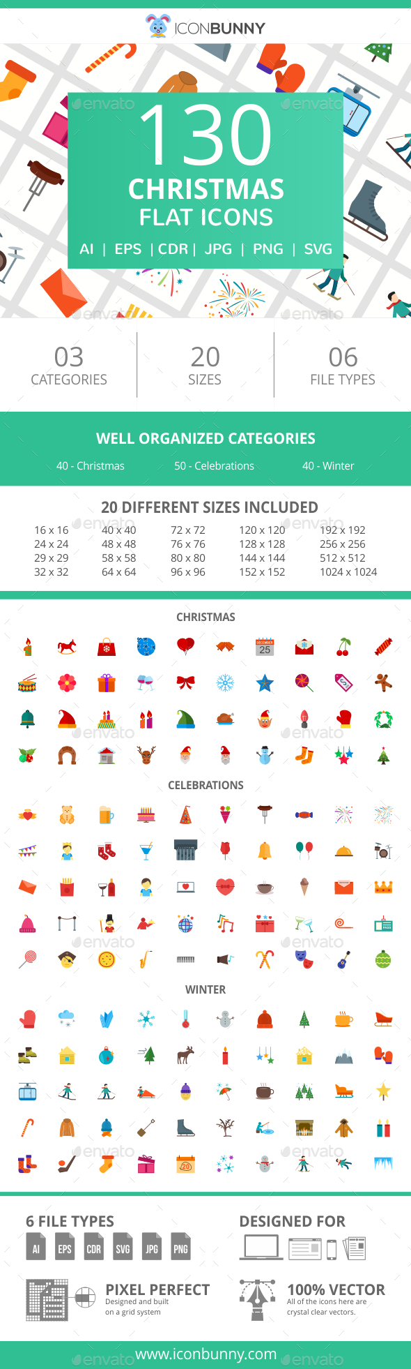 GraphicRiver 130 Christmas Flat Icons 20995007