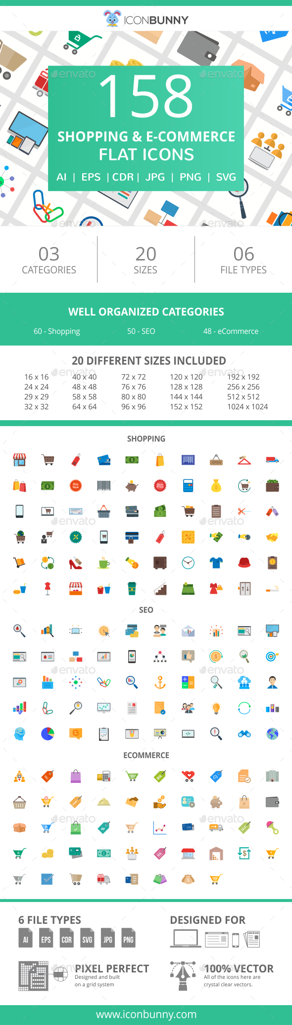 GraphicRiver 158 Shopping & E-Commerce Flat Icons 20995009