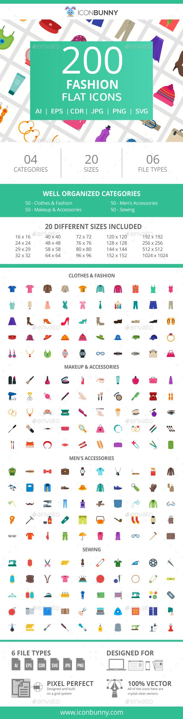 GraphicRiver 200 Fashion Flat Icons 20995015