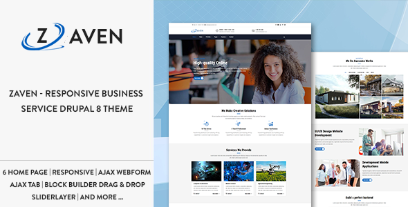 ThemeForest Zaven Responsive Business Service Drupal 8 Theme 20898278