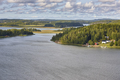 Finland landscape. Lake and forest. Aland islands. Nature background. Horizontal