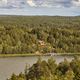 Forest lake house and yacht. Finland nature scenic landscape. Vertical - PhotoDune Item for Sale