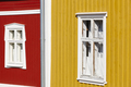 Traditional wooden houses facade in Rauma town. Finland heritage. Horizontal