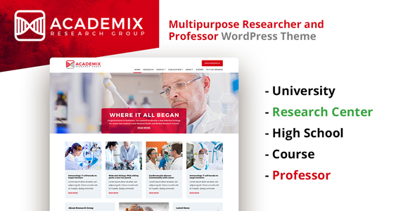 Download Academix - Multipurpose Education, Researcher and Professor WordPress Theme