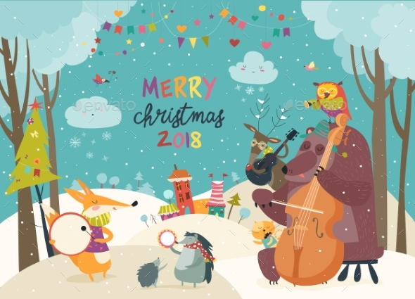 Happy Animals Celebrating Christmas - Seasons/Holidays Conceptual