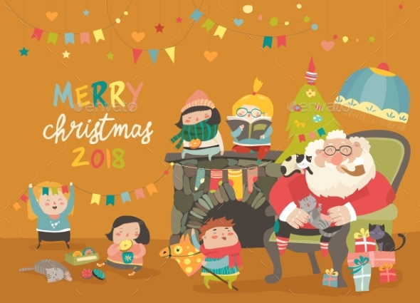 Cartoon Santa Claus with Kids and Gifts - Seasons/Holidays Conceptual
