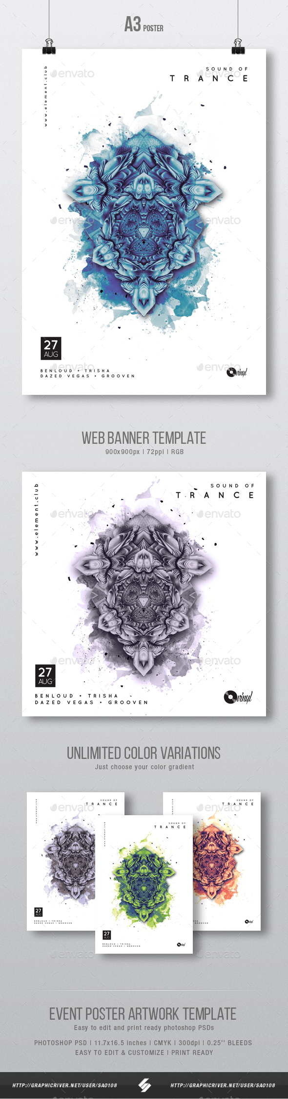Sound Of Trance - Party Flyer / Poster Artwork Template A3 - Clubs & Parties Events