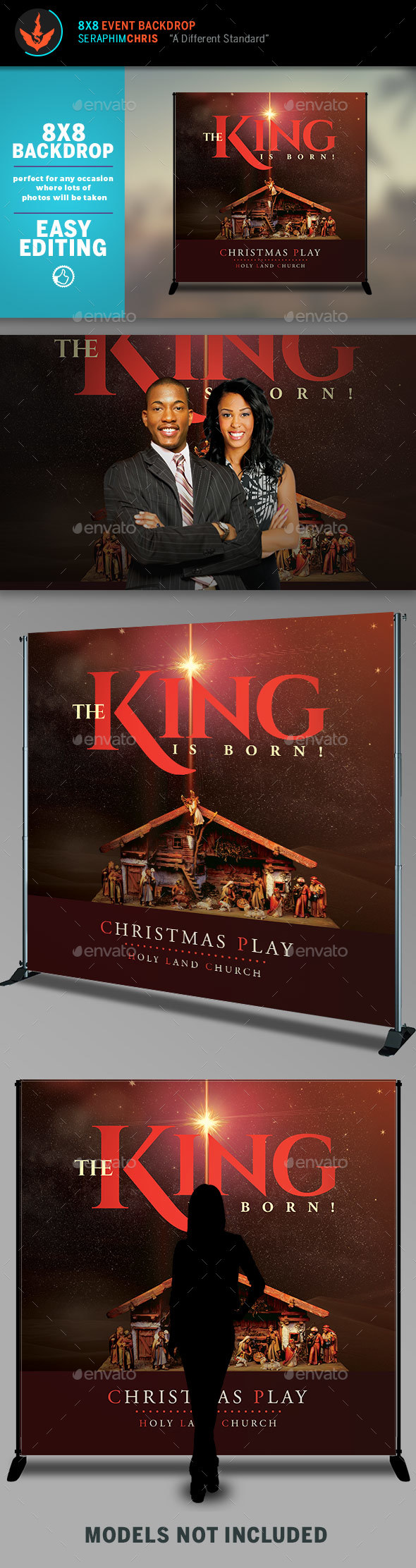 The King is Born Christmas 8x8 Backdrop Template - Packaging Print Templates