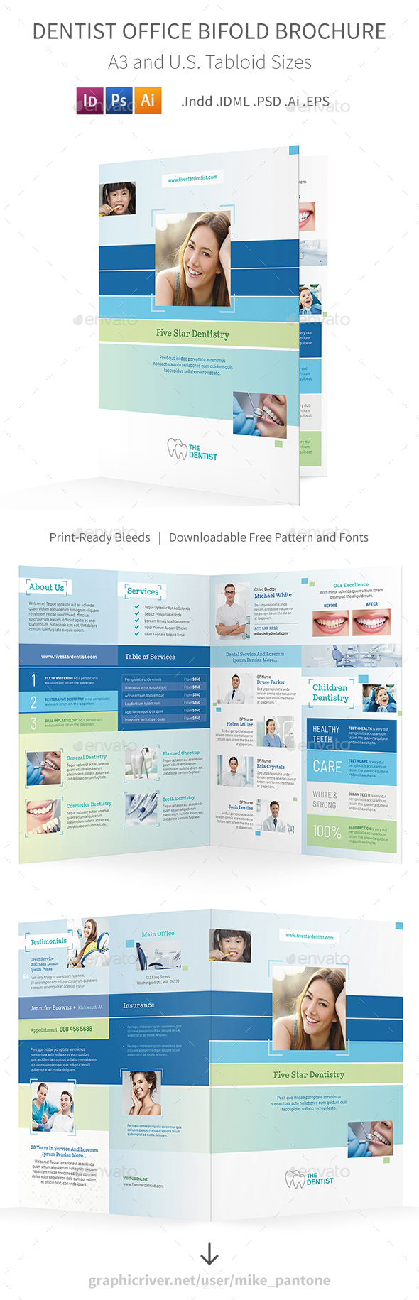 GraphicRiver Dentist Office Bifold Halffold Brochure 5 20995793