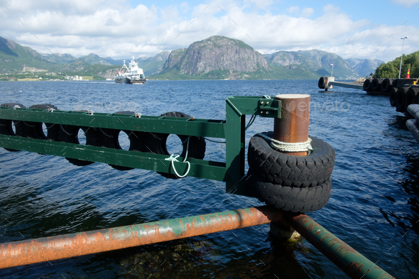 Sunny morning near the ferry moorage - Stock Photo - Images