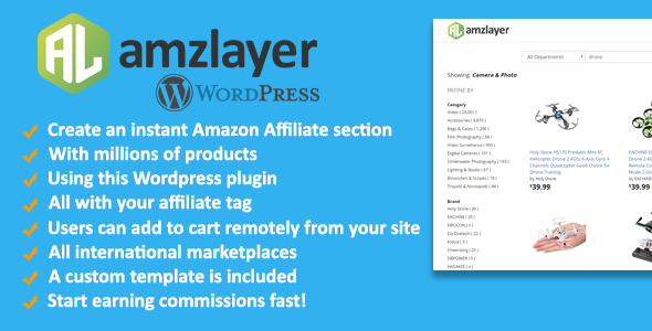 Amzlayer WP Plugin - Create an Amazon Affiliate section on your Wordpress site - CodeCanyon Item for Sale