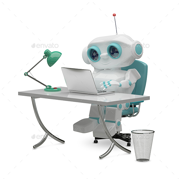 GraphicRiver 3D Illustration of the Little Robot Behind the Table 20996422