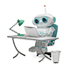 3D Illustration of the Little Robot Behind the Table - GraphicRiver Item for Sale