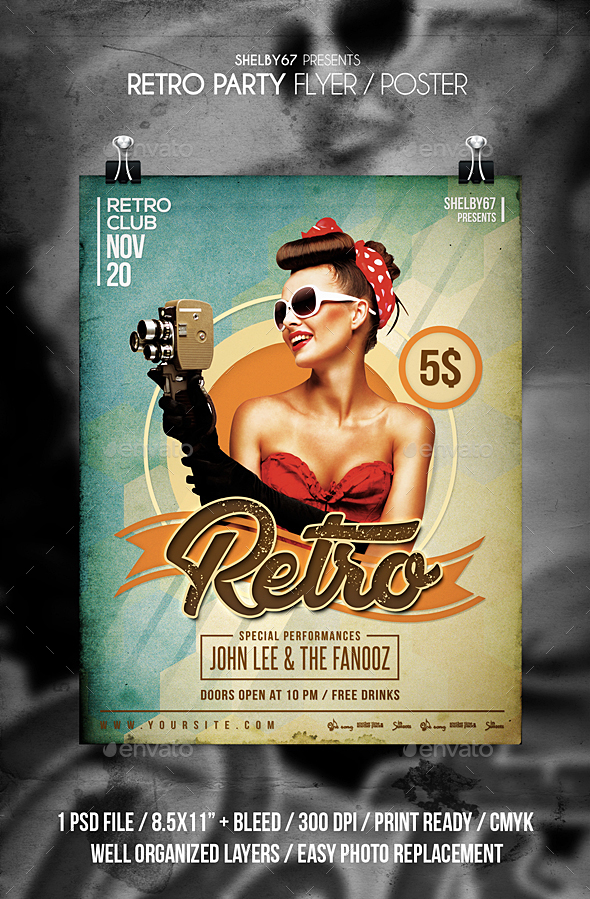 GraphicRiver Retro Party Flyer 20996679
