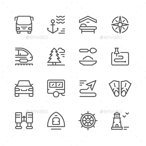 GraphicRiver Set Line Icons of Travel 20996698