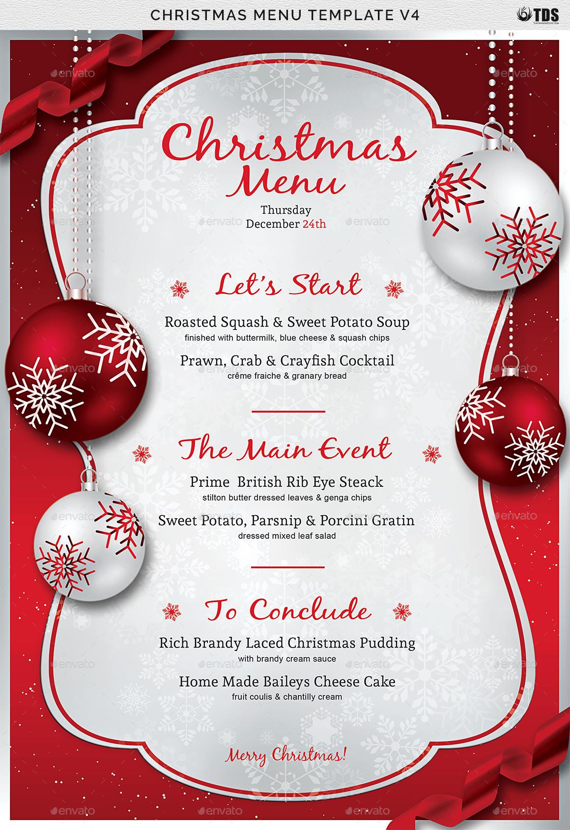menu template v4jpg - Christmas Menu Template