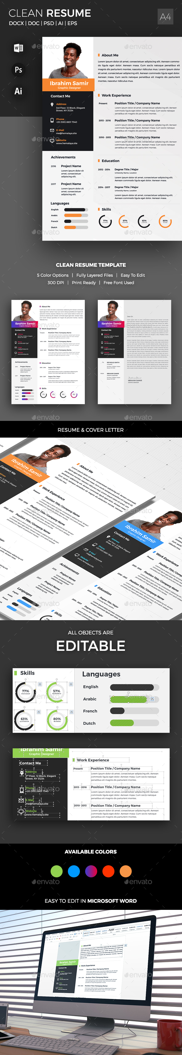 GraphicRiver Clean Resume Template 20982563