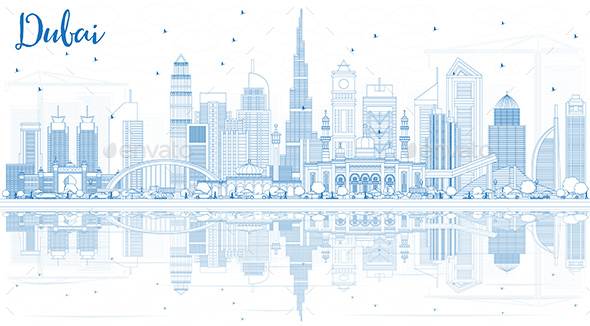GraphicRiver Outline Dubai UAE Skyline with Blue Buildings and Reflections 20997233