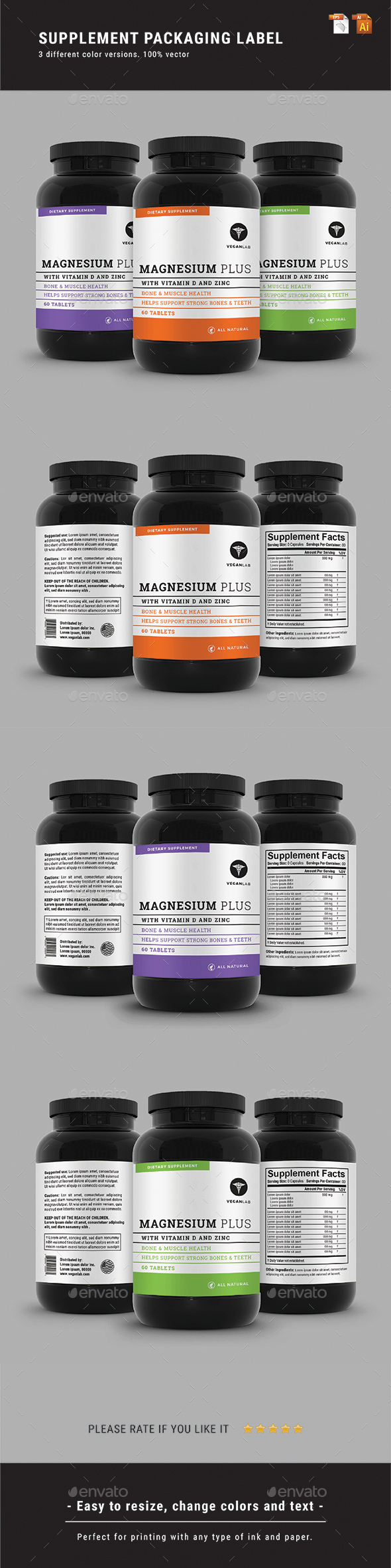 Supplement Packaging Label - Packaging Print Templates
