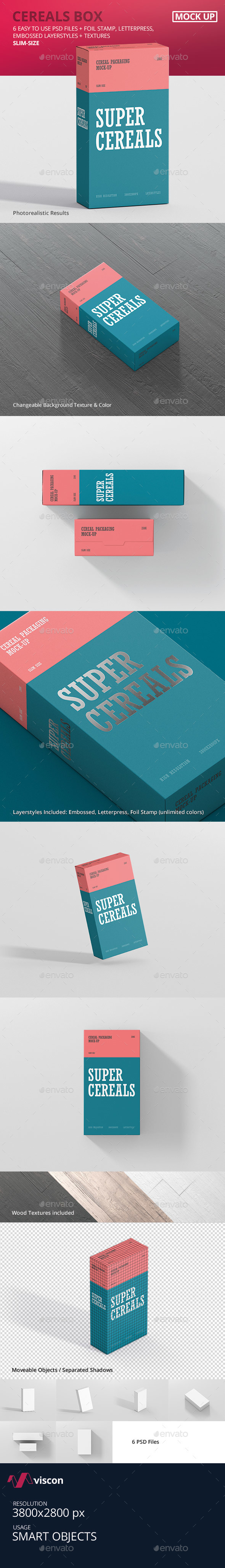 Cereals Box Mockup - Slim Size - Food and Drink Packaging