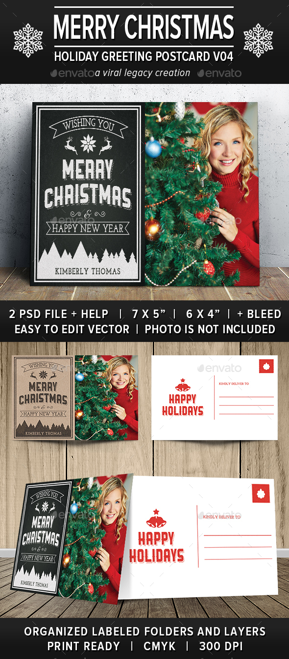 Christmas Greeting Postcard V04 - Greeting Cards Cards & Invites