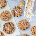 Flourless gluten free peanut butter, oatmeal and chocolate chips cookies