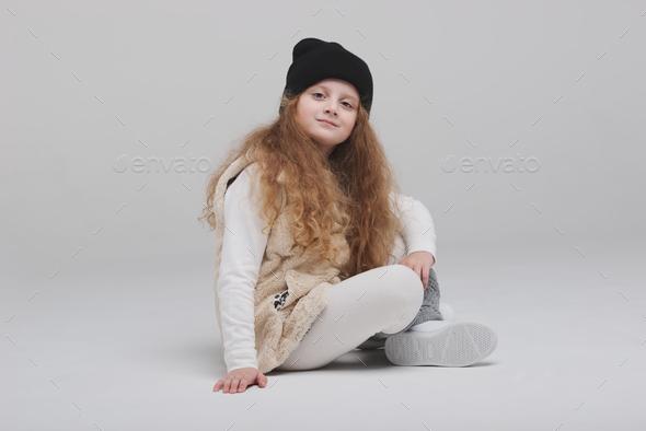 happy girl portirait on white background - Stock Photo - Images