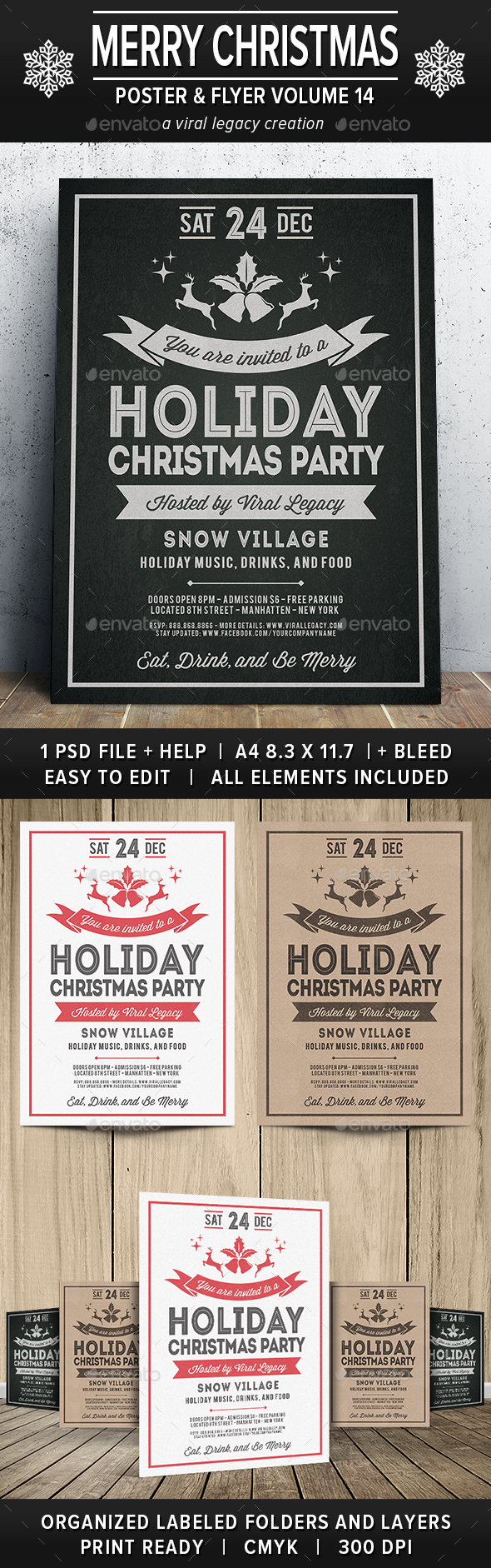 Merry Christmas Poster / Flyer V14 - Print Templates
