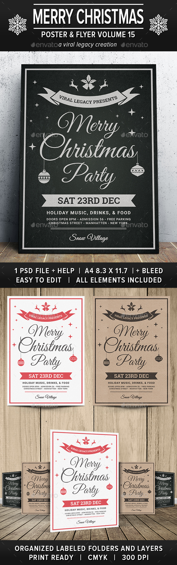 Merry Christmas Poster / Flyer V15 - Flyers Print Templates