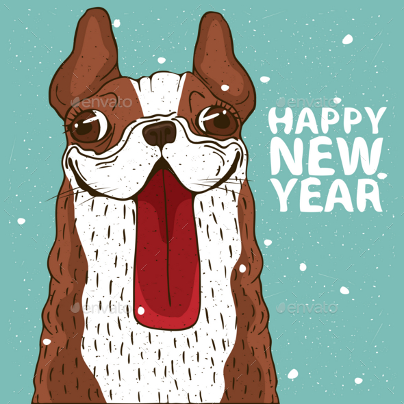 GraphicRiver Dog Sticking Out Tongue New Year 20997956