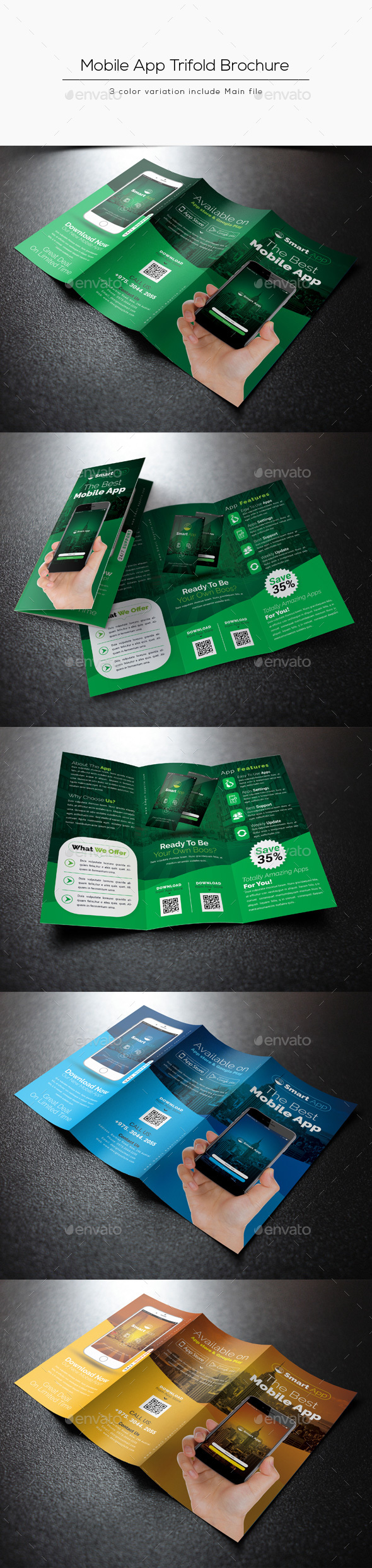 Mobile App Tri-Fold Brochure - Corporate Brochures