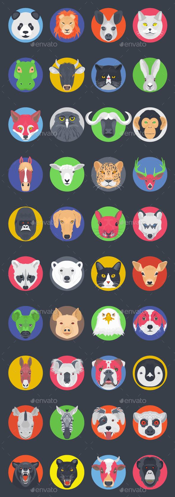 40 Flat Animal Avatars - Icons