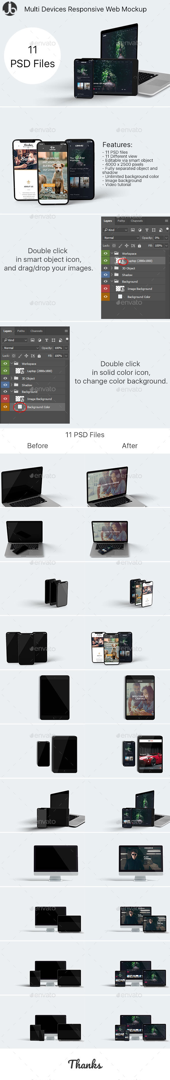 Multi Devices Responsive Website Mockup - Monitors Displays
