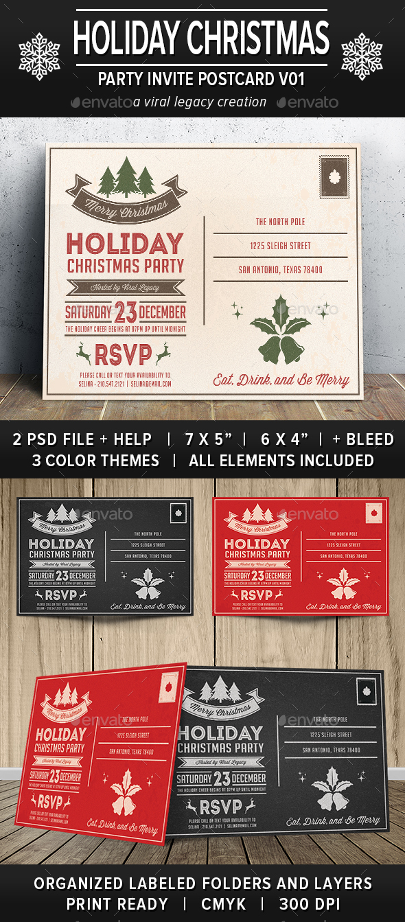 Holiday Christmas Party Postcard V01 - Cards & Invites Print Templates