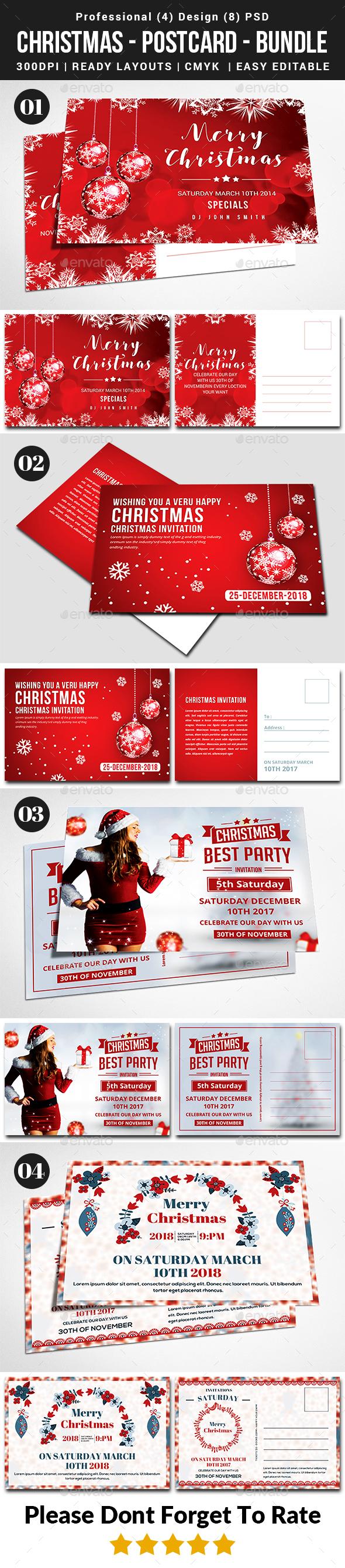 Christmas 4 Postcard Bundle - Cards & Invites Print Templates