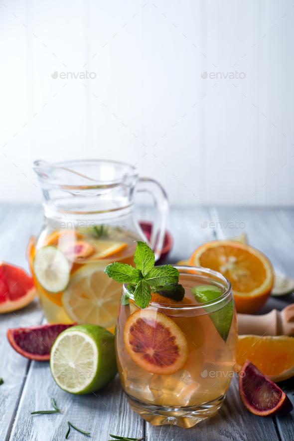 Citrus lemonade with mint - Stock Photo - Images