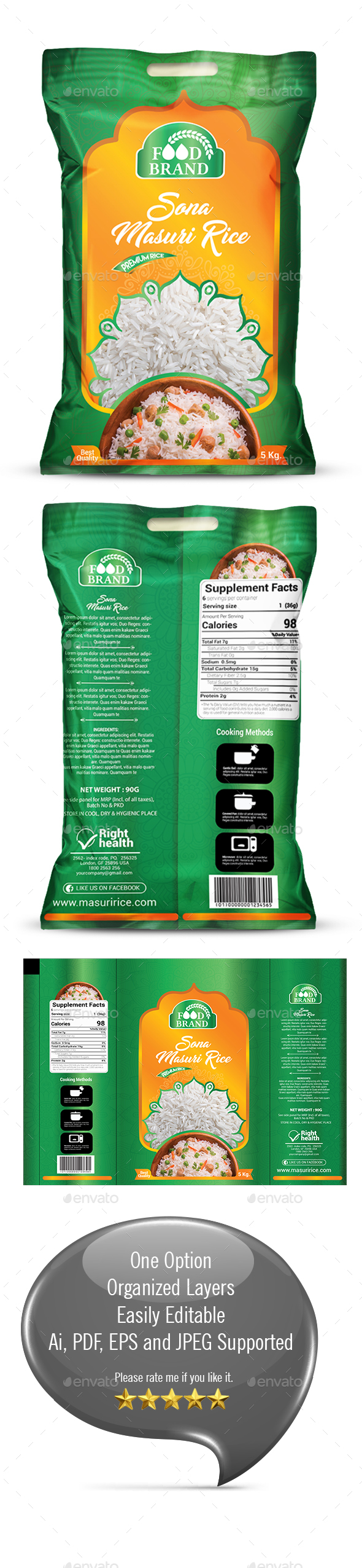 Rice Packaging Template - Packaging Print Templates