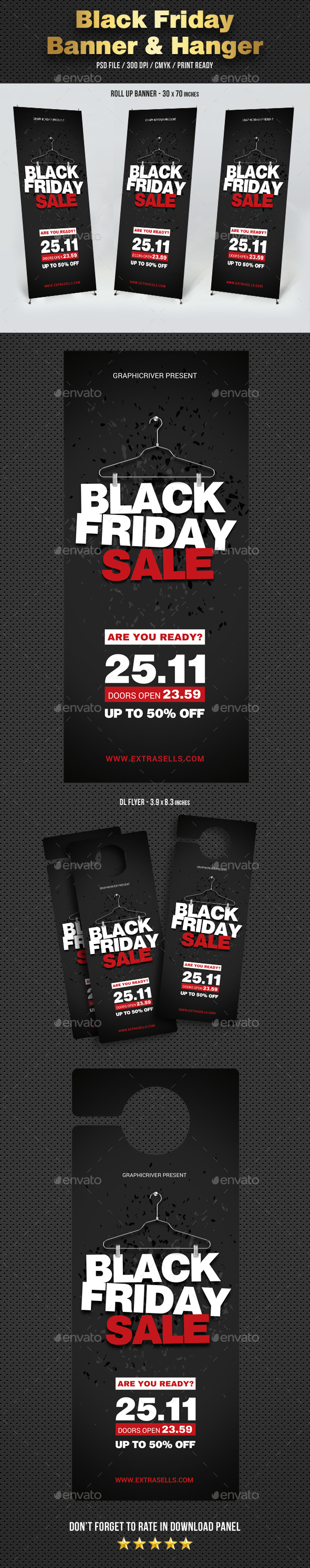 Black Friday Banner and Door Hanger - Signage Print Templates