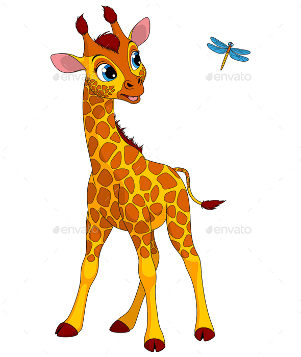 GraphicRiver Little Giraffe and Dragonfly 20998319