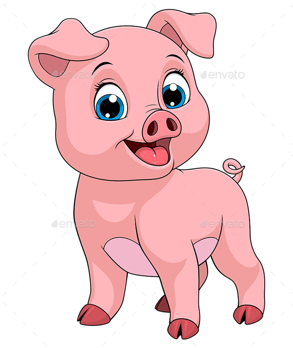 Cheerful Piggy - Animals Characters